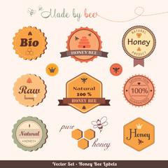 Set of honey bee labels