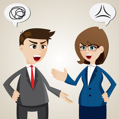 argument between businessman and businesswoman