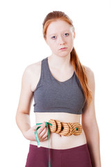 Woman frustrated by results of diet