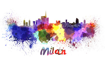 Milan skyline in watercolor