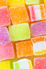 Many bright color jelly candies.