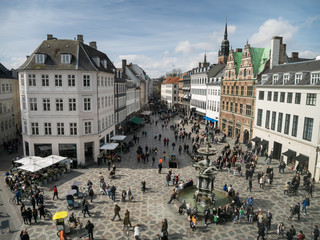 Amagertorv - central square in Copenhagen, Denmark