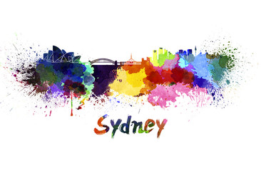 Sydney skyline in watercolor