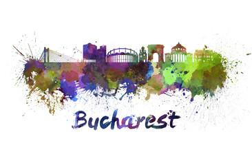 Bucharest skyline in watercolor