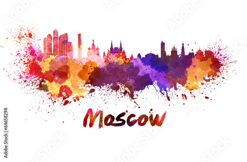 Poster Oost Europa Moscow skyline in watercolor