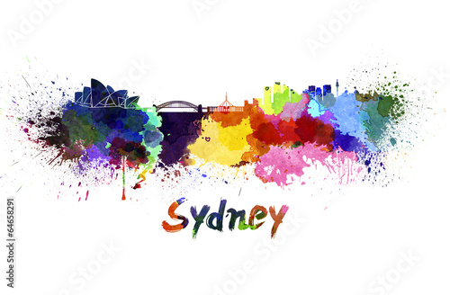 Poster Sydney skyline in watercolor