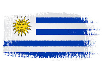 brushstroke flag Uruguay with transparent background