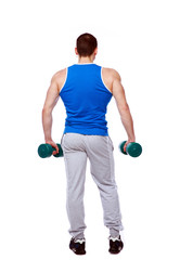 sport man standing with dumbbells