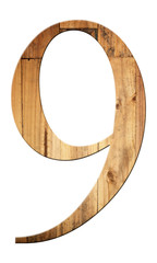 font of number nine with textured wooden.