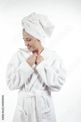 canvas print picture Mädchen mit schönem Bademantel