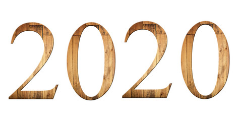 font of number two thousand and twenty with textured wooden.