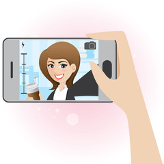 cartoon cute girl take selfie photo