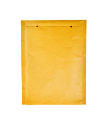 Yellow document envelope on white background