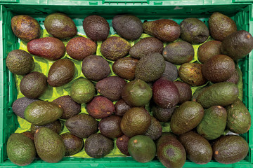 Green crate full of avocados