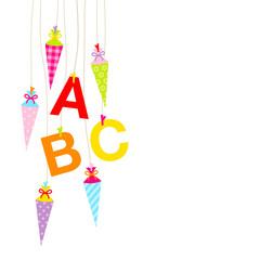 Hintergrund Schultüten & ABC bunt