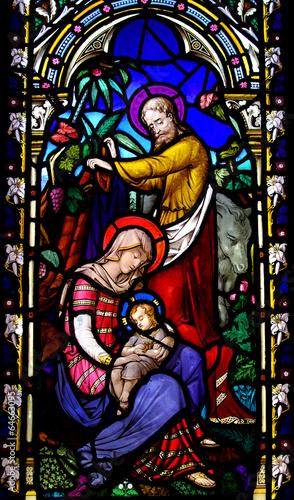 Naklejka Birth of Jesus with Mary and Joseph