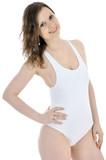 Schlanker Twen in weißem Badeanzug
