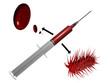 Seringue avec globule rouge et virus