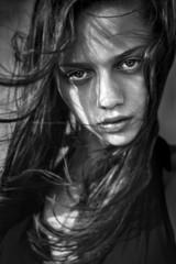 black and white fashion women face portrait