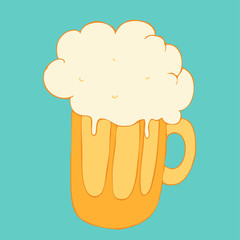 Beer in glass and mug. illustration vector