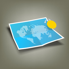 Blue Paper Folded, four fold and world map