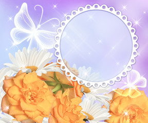 Flowers and round photo frame