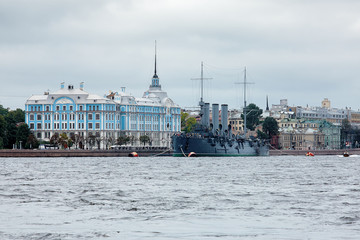 Cruiser Aurora and Petrograd embankment in St. Petersburg