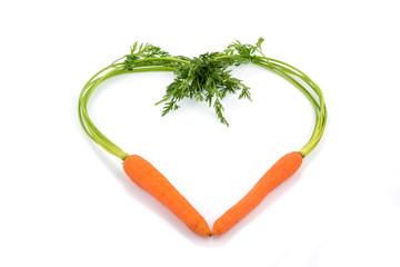 fresh carrots in a heart shape