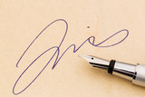 signature and fountain pen