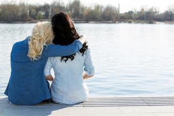 Attractive best friends outdoor