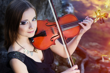 Portrait of girl with her violin
