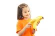 バナナを持つ笑顔の女の子