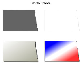 North Dakota blank outline map set