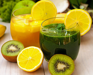 Green smoothie with fresh fruit and vegetable