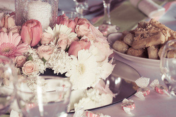 wedding bouquet decoration on the table