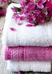 Cotton Spa Towels with Flowers