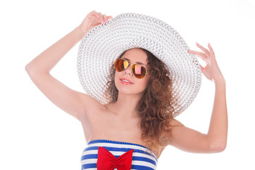 summer girl portrait on white background