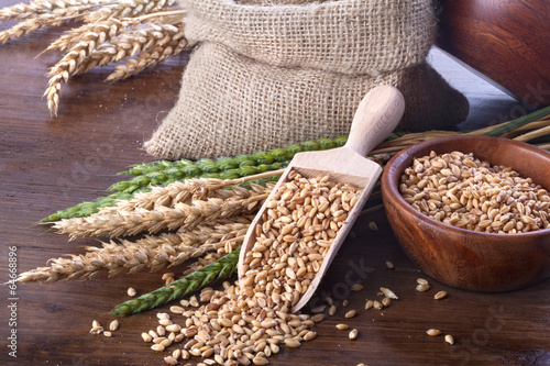 Fotobehang Granen Ripe and green wheat with a wooden spatula and bowl