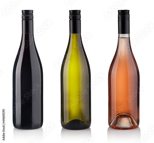 Papiers peints Vin Set of Bottles isolated on white background