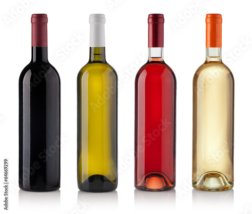 Poster Wijn Set of Bottles isolated on white background