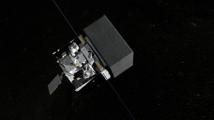 Satellite with solar wings in space in low Earth orbit