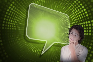 Composite image of speech bubble and casual thinking man