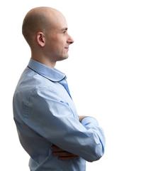 bald man profile