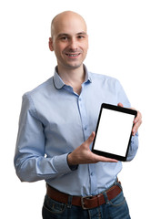 young business man holding his tablet