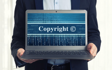 Copyright message on laptop screen