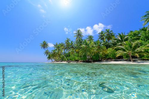 Leinwandbild Motiv Strand mit Palmen