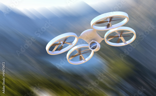 Unmanned Aerial Vehicle drone in flight - 64670672