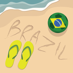 Brazil beach with football and slippers
