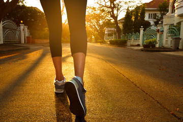 Woman with an athletic pair of legs going for a jog