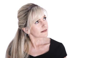 Gesicht einer älteren attraktiven blonden Frau
